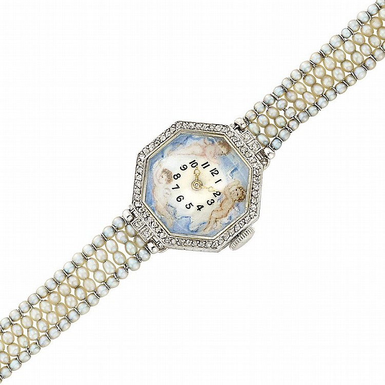 Belle Epoque Platinum, Seed Pearl, Painted Enamel and Diamond Bracelet-Watch, Verger Freres, Vacheron & Constantin