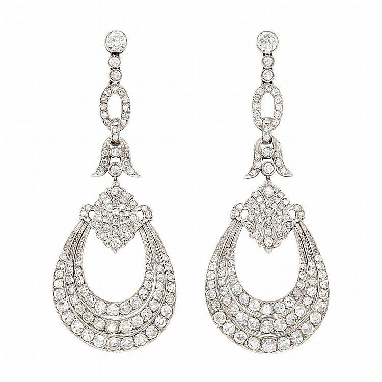 Pair of Platinum and Diamond Pendant-Earrings