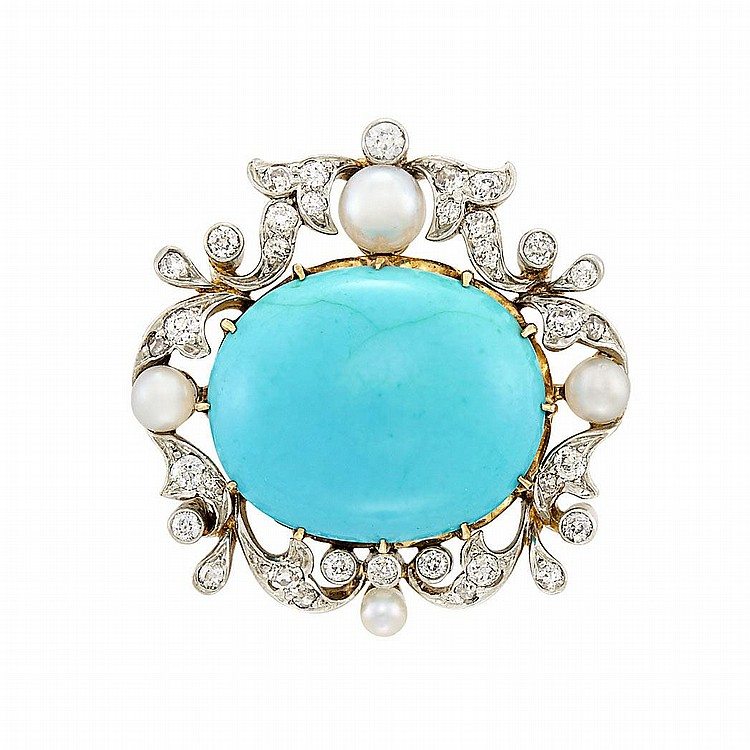 Antique Platinum, Gold, Turquoise, Pearl and Diamond Pendant-Brooch