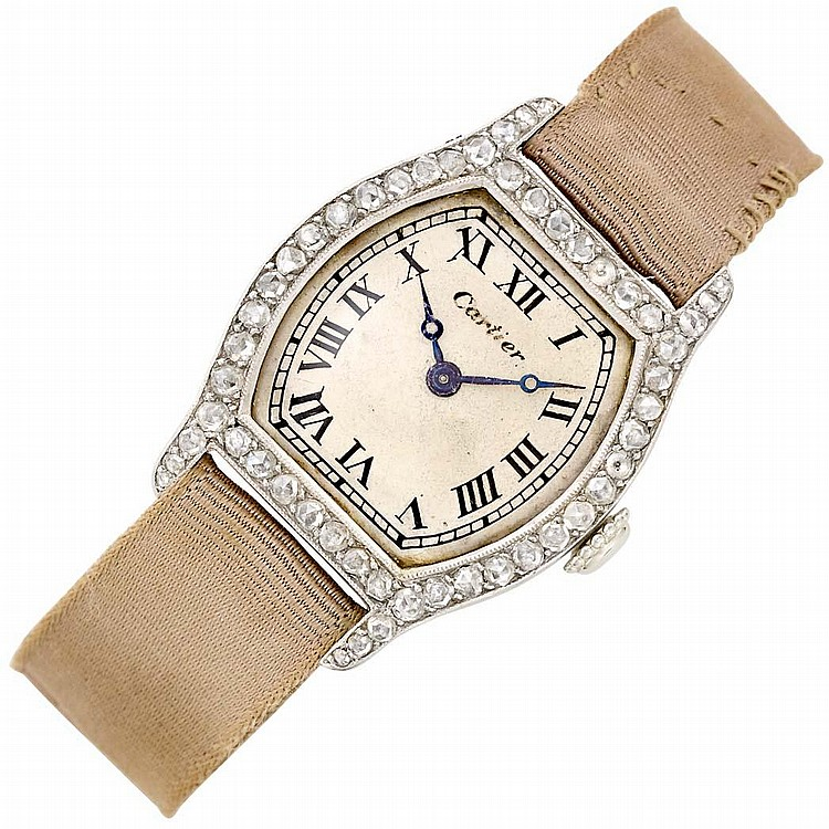Lady''s Platinum, Gold and Diamond Wristwatch, France, Cartier, European Watch and Clock Co. Inc.