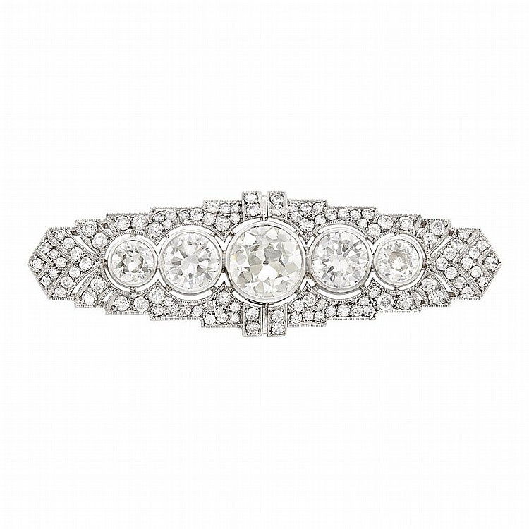 Platinum and Diamond Bar Brooch