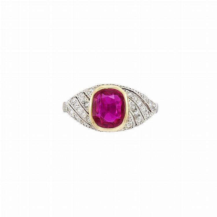 Platinum, Gold, Ruby and Diamond Ring