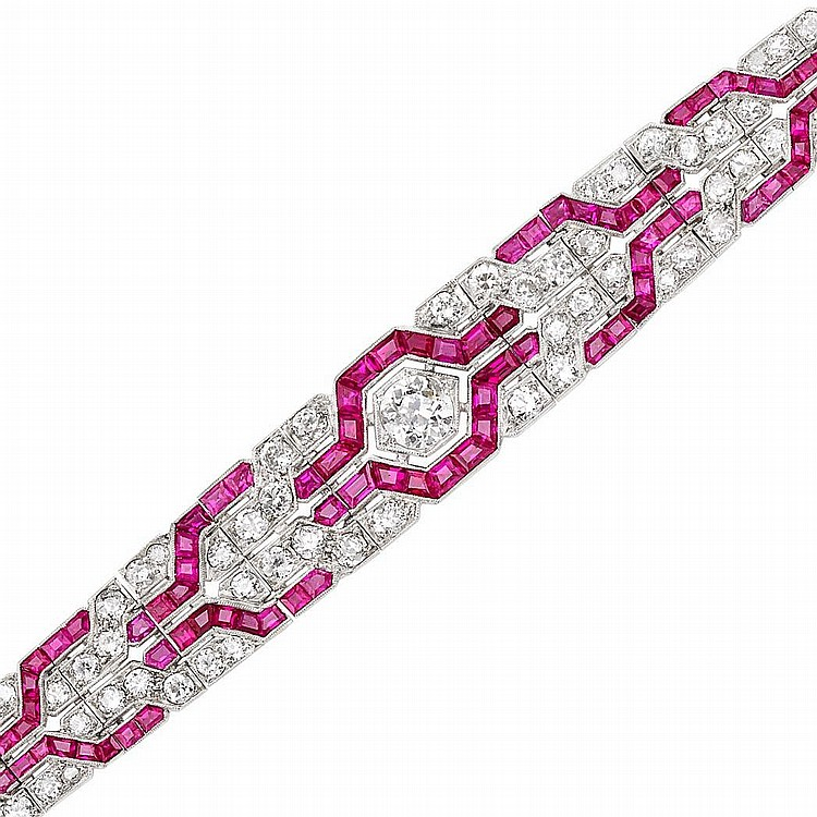 Art Deco Platinum, Diamond and Ruby Bracelet