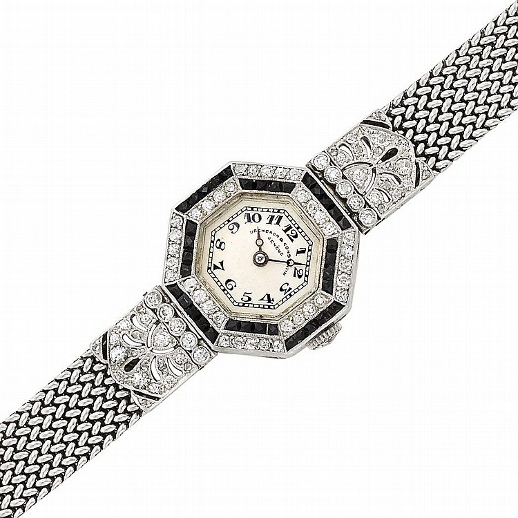 Lady''s Platinum, White Gold, Black Enamel and Diamond Wristwatch, Vacheron & Constantin