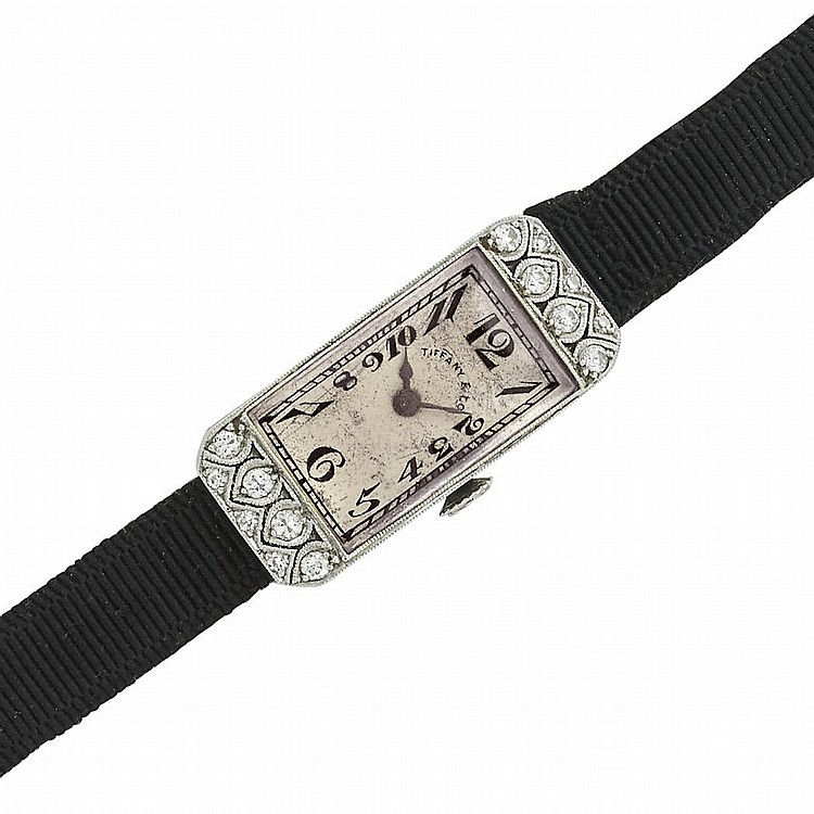 Lady''s Platinum and Diamond Wristwatch, Patek Philippe, Retailed by Tiffany & Co.