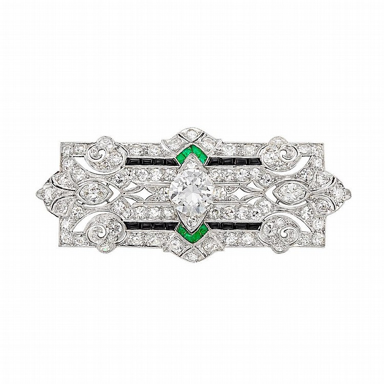 Platinum, Diamond, Black Onyx and Emerald Pendant-Brooch