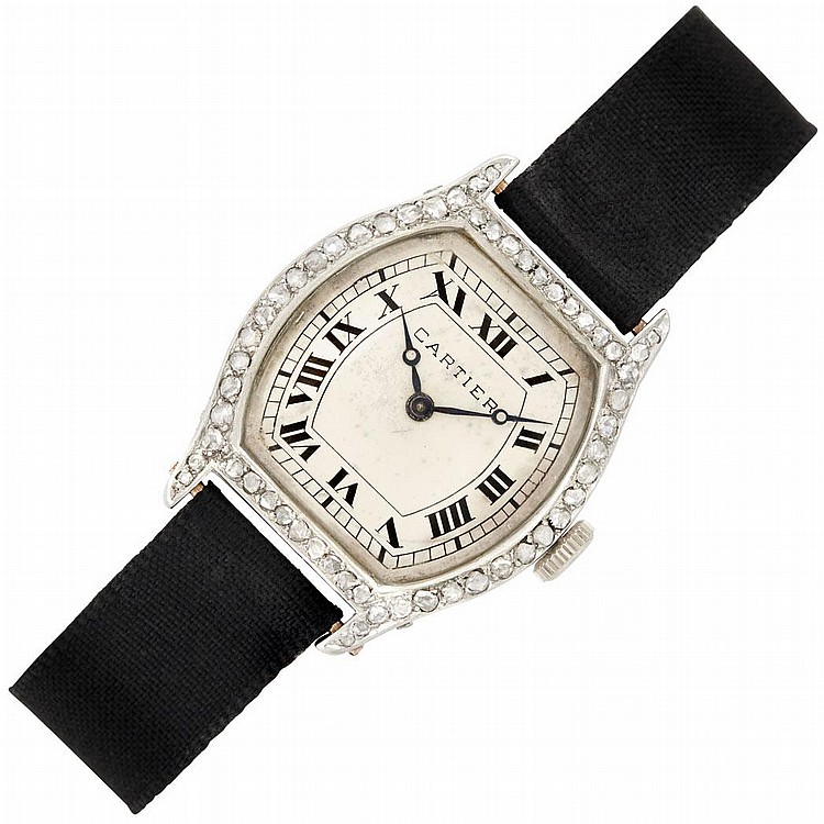 Lady''s Art Deco Platinum, Gold and Diamond Wristwatch, Cartier, France, European Watch & Clock Co. Inc.