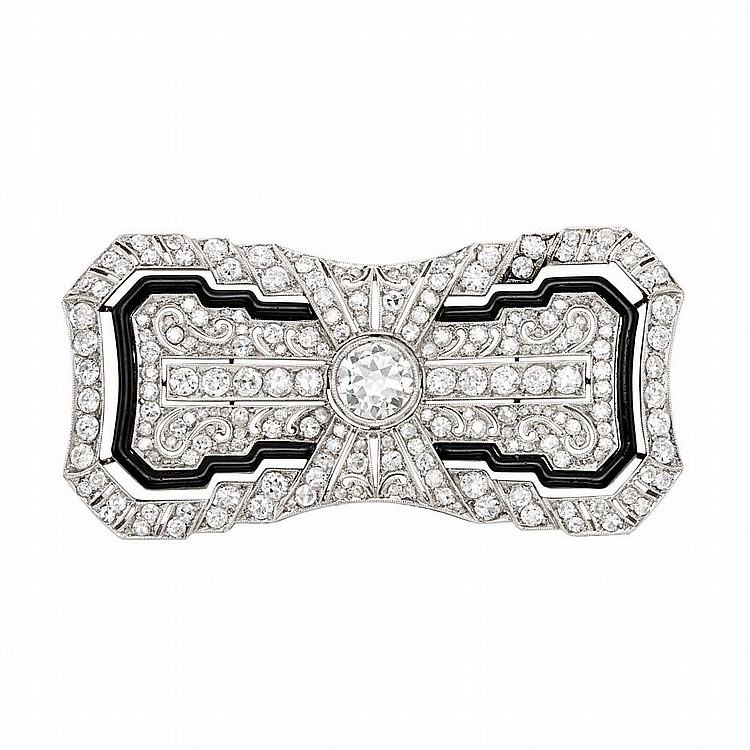 Platinum, Diamond and Black Enamel Brooch