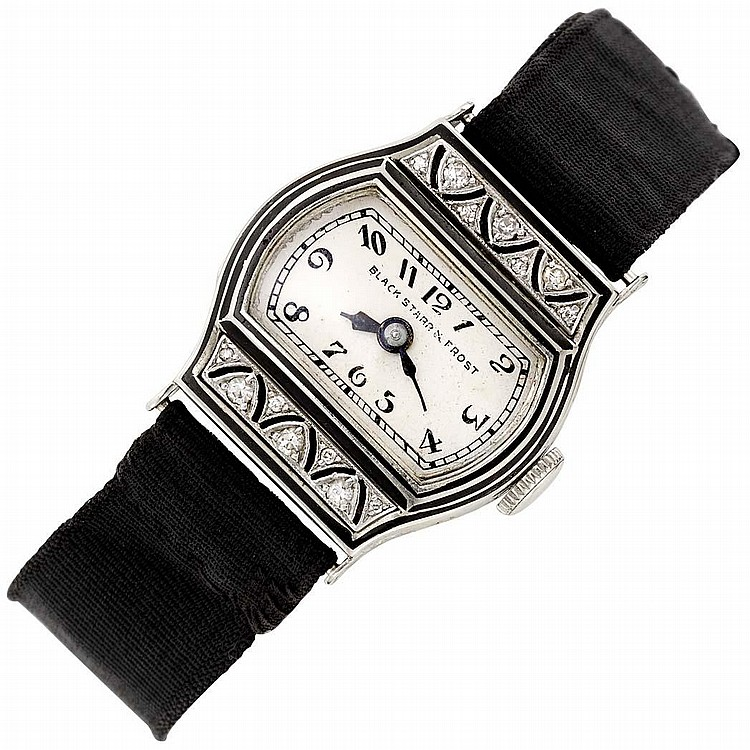 Lady''s Platinum, White Gold, Diamond and Black Enamel Wristwatch, Black, Starr & Frost