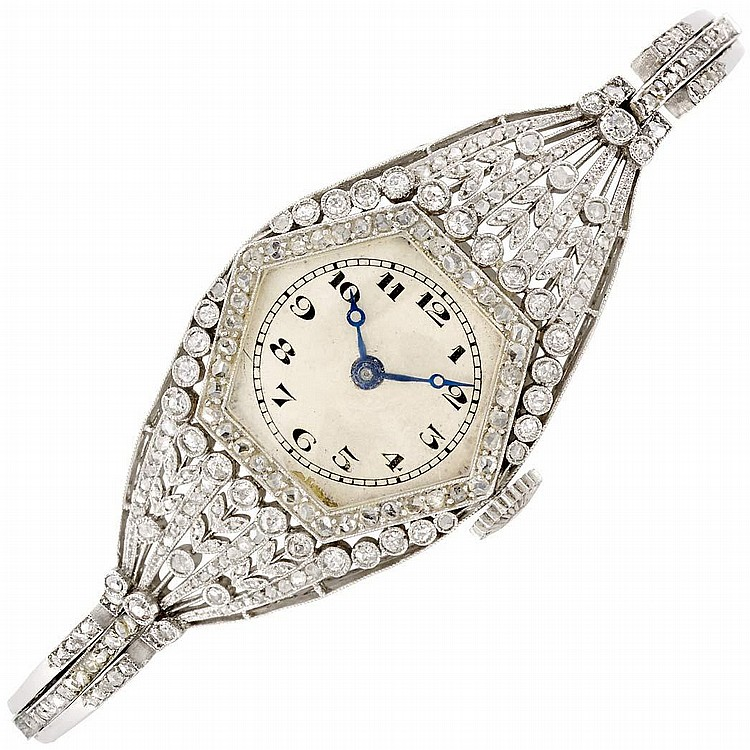 Lady''s Belle Epoque Platinum and Diamond Wristwatch, Vacheron & Constantin