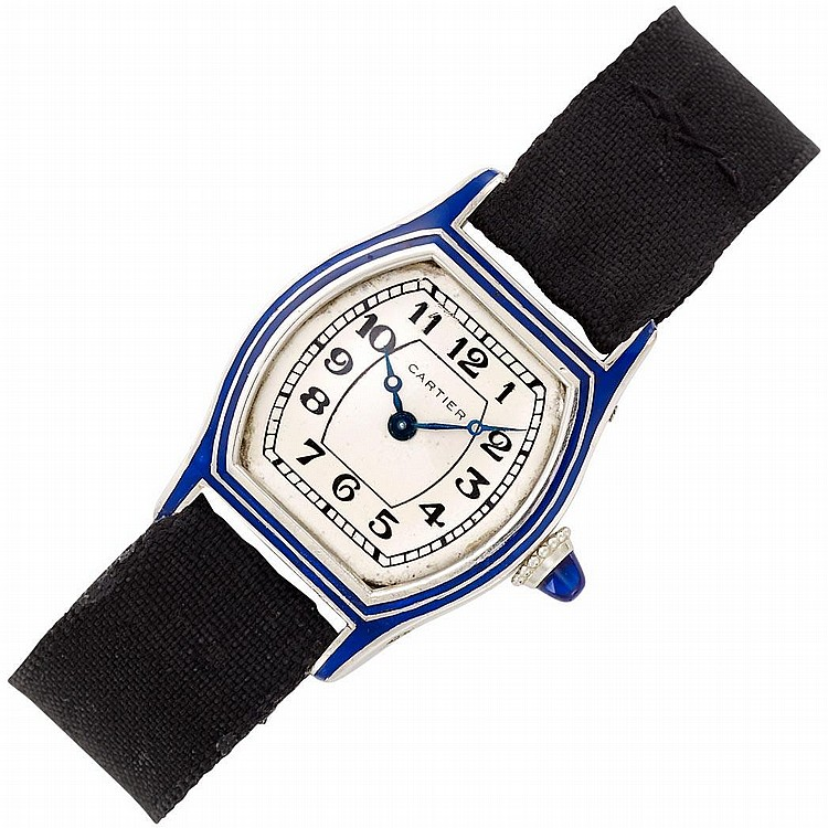 Lady''s Platinum, Gold, and Blue Enamel Wristwatch, Cartier, France, European Watch & Clock Co. Inc.