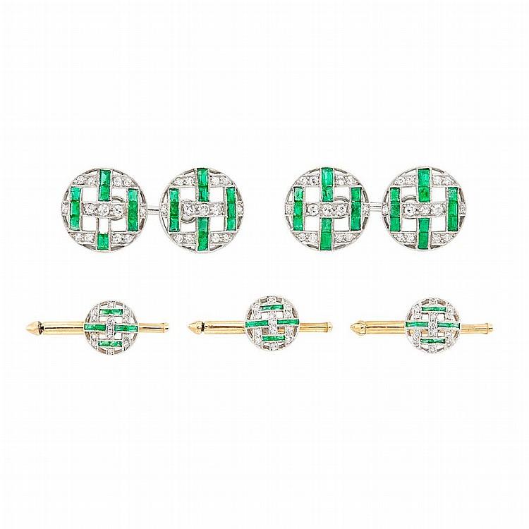 Art Deco Platinum, Gold, Emerald and Diamond Dress Set