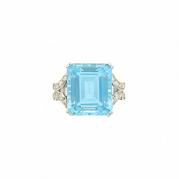 Palladium, Aquamarine and Diamond Ring