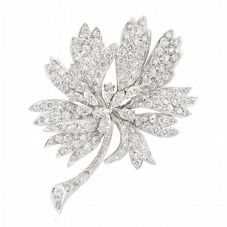 Platinum and Diamond Flower Brooch