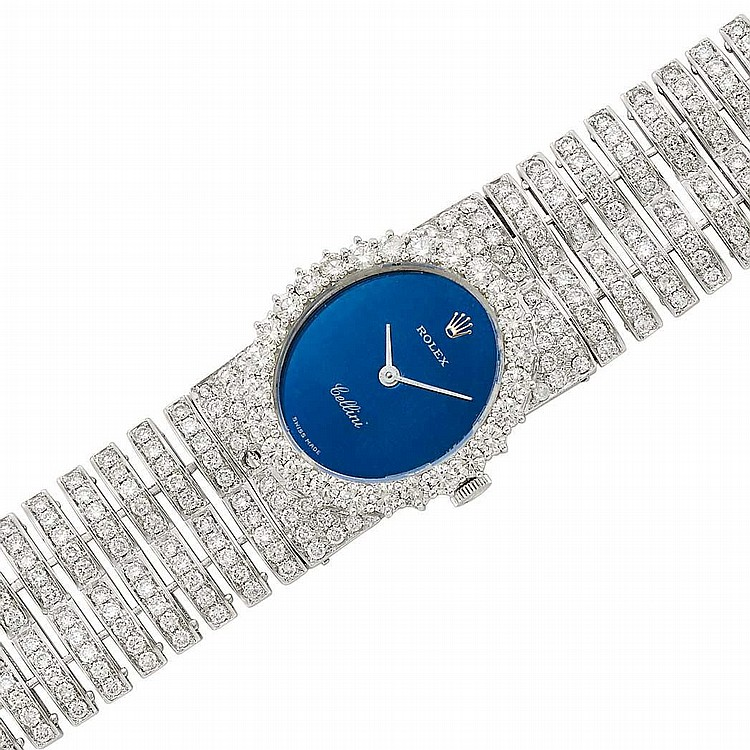 Lady's White Gold and Diamond 'Cellini' Wristwatch, Rolex