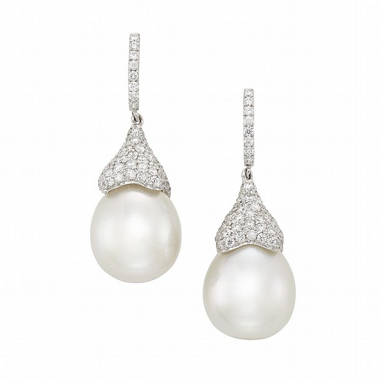 Pair of White Gold, Diamond and South Sea Cultured Pearl Pendant-Earrings
