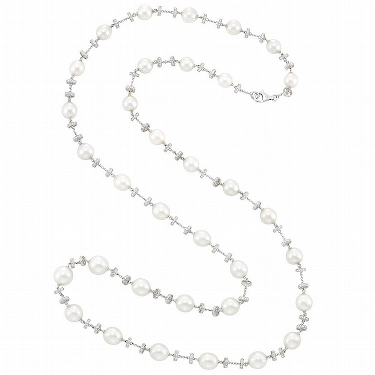 Long White Gold, South Sea Cultured Pearl and Diamond Chain Necklace
