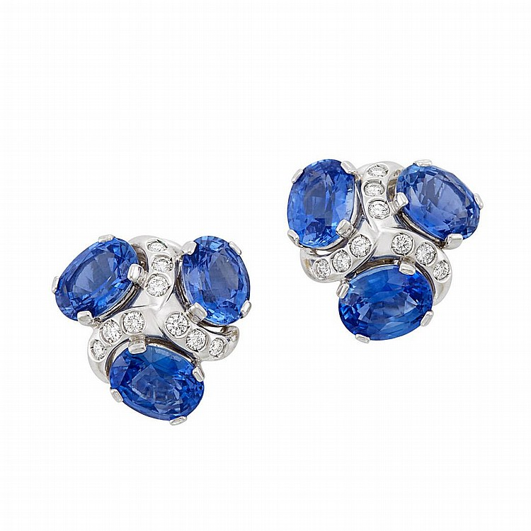 Pair of Platinum, Sapphire and Diamond Earclips, Verdura