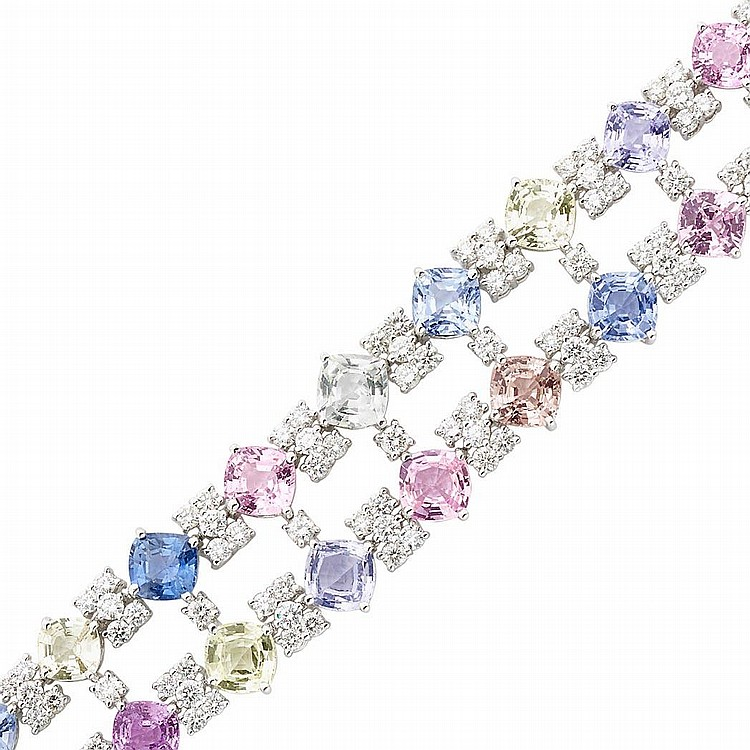 White Gold, Multicolored Sapphire and Diamond Bracelet