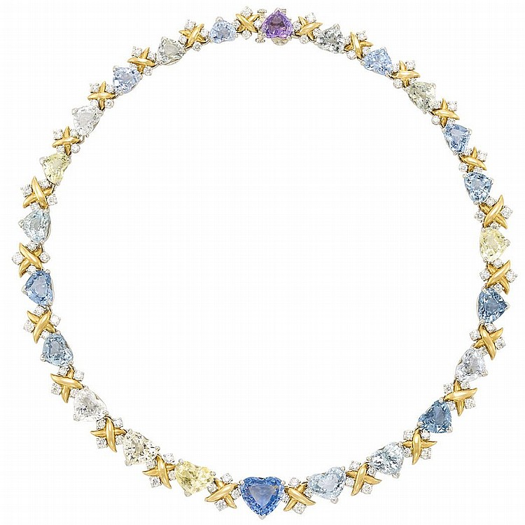 Gold, Platinum, Multicolored Sapphire and Diamond Necklace, Oscar Heyman Brothers