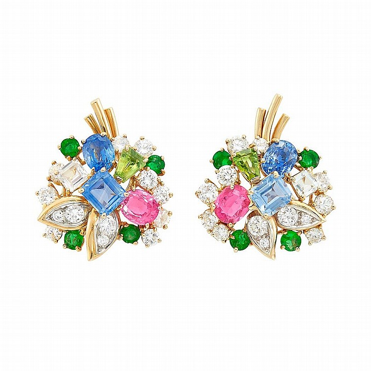 Pair of Gold, Multicolored Sapphire, Emerald and Diamond Earclips, Attributed to Oscar Heyman Brothers