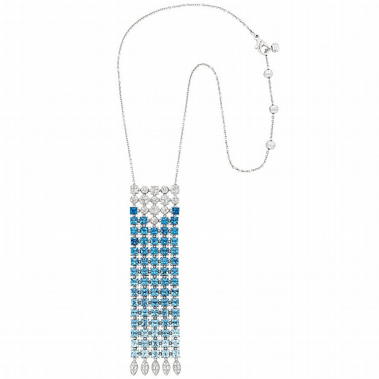 White Gold, Blue Topaz and Diamond ''Lucea'' Pendant-Necklace, Bulgari