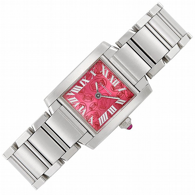 Lady''s Stainless Steel ''Tank Francaise'' Wristwatch, Cartier, Ref. 2384