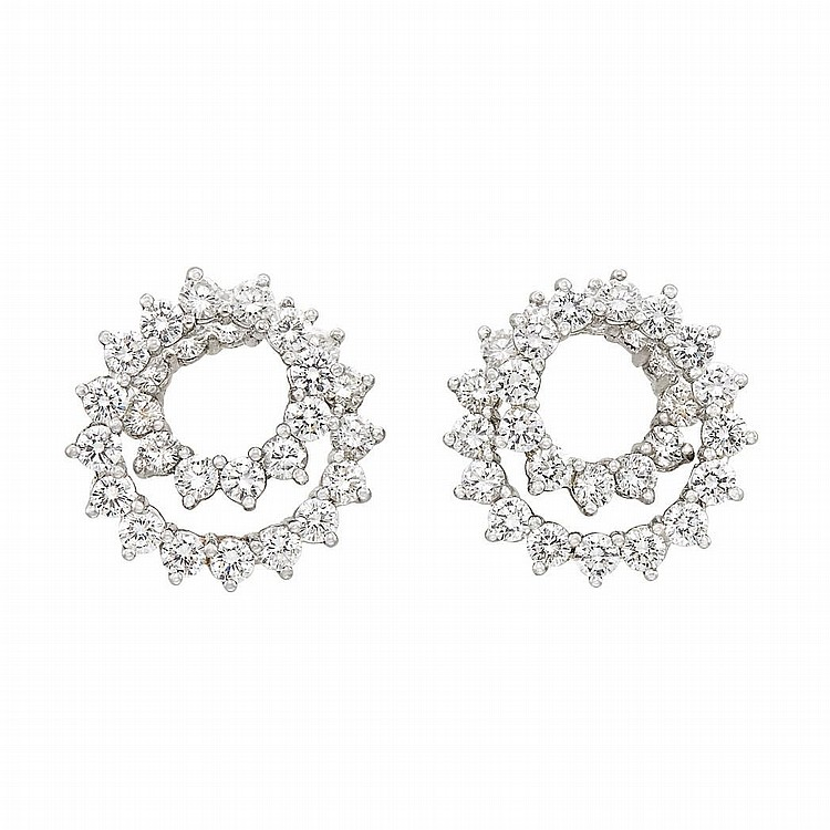 Pair of Platinum and Diamond Spiral Earrings, Tiffany & Co.