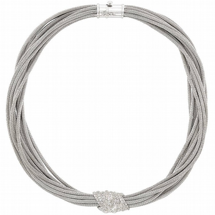 Multistrand White Gold and Diamond Necklace
