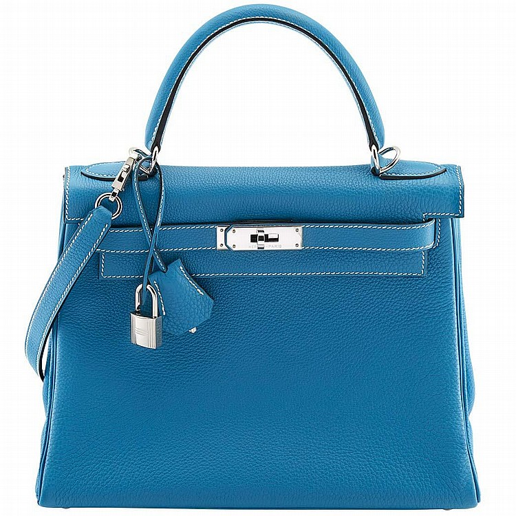 Leather 28cm ''Blue Jean Kelly'' Handbag with Palladium Hardware, Hermes