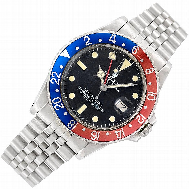 Gentleman''s Stainless Steel ''GMT-Master'' Oyster Perpetual Wristwatch, Rolex, Ref. 16750