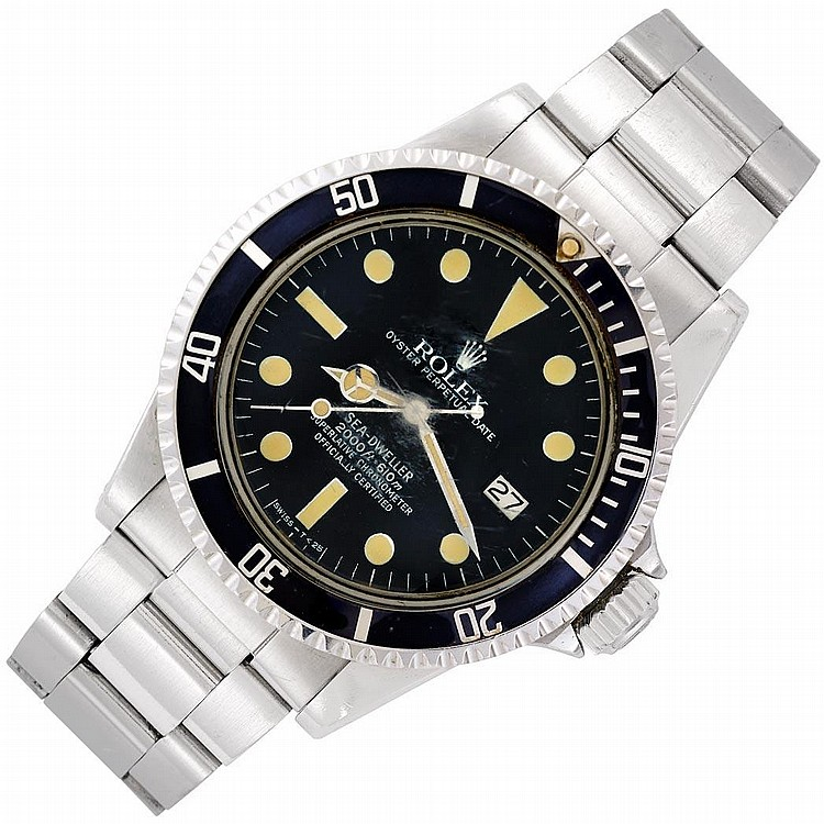 Gentleman''s Stainless Steel ''Great White Sea Dweller'' Oyster Perpetual Wristwatch, Rolex, Ref. 1665