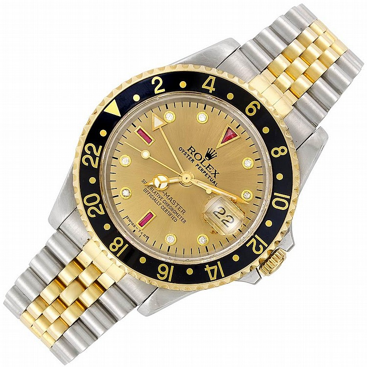 Gentleman''s Stainless Steel and Gold ''GMT-Master'' Oyster Perpetual Wristwatch, Rolex, Ref. 16713