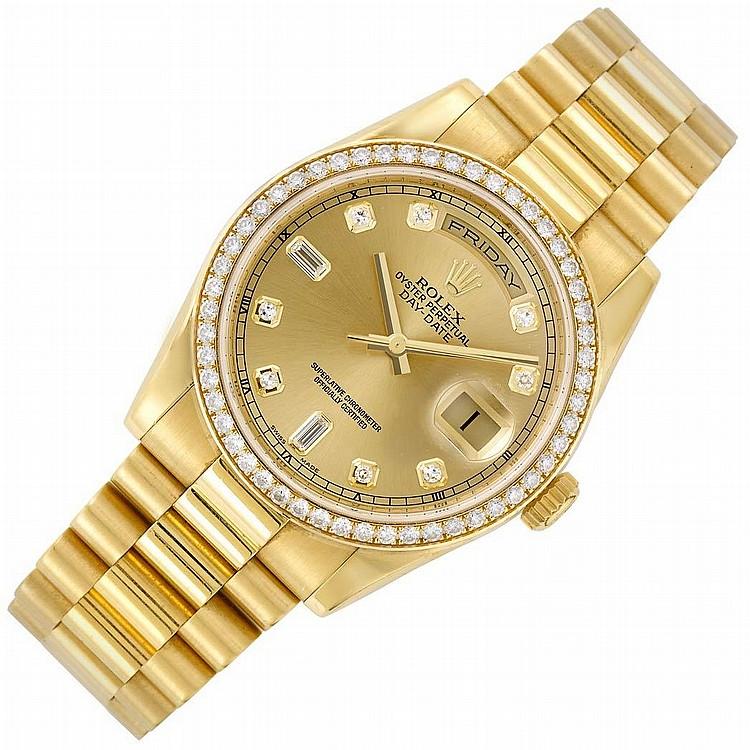 Gentleman''s Gold ''President'' Oyster Perpetual Day-Date Wristwatch, Rolex, Ref. 118348