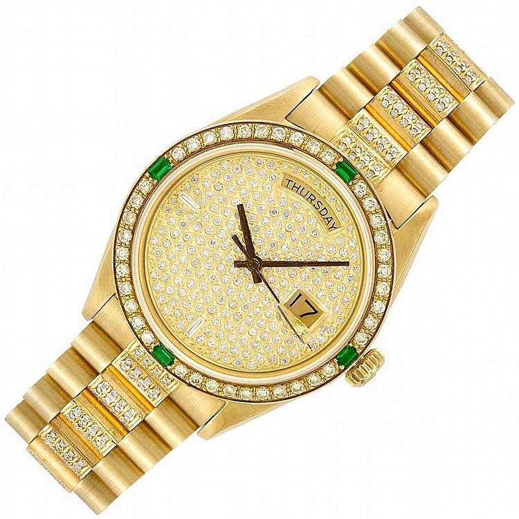 Gentleman''s Gold and Diamond ''President'' Day-Date Wristwatch, Rolex, Ref. 1803