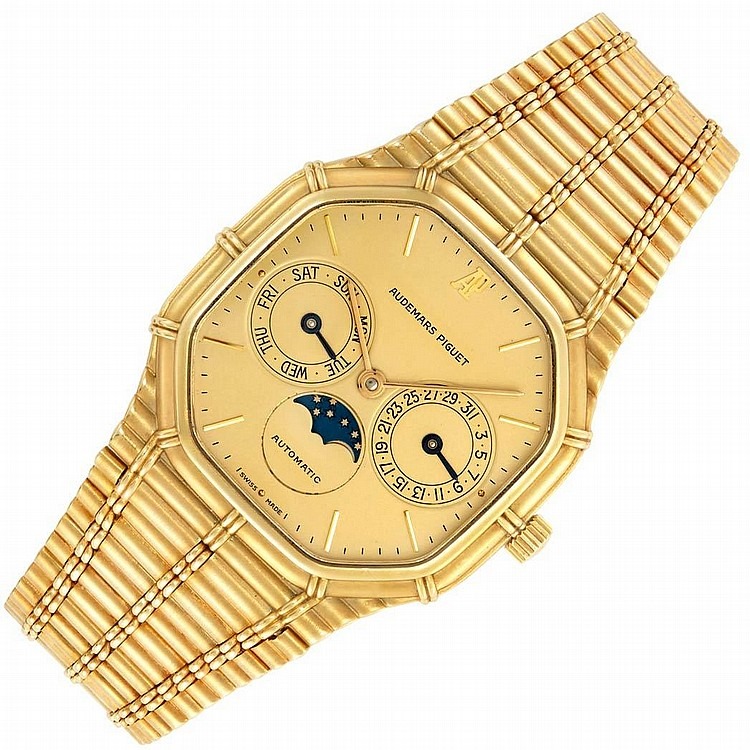 Gentleman''s Gold ''Bamboo'' Day-Date Moonphase Calendar Wristwatch, Audemars Piguet