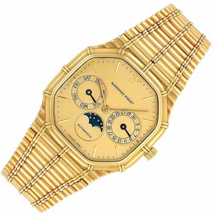 Gentleman''s Gold ''Bamboo'' Day-Date Moonphase Calendar Wristwatch, Audemars Piguet