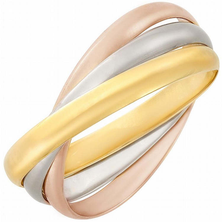 Tricolor Gold ''Rolling'' Bangle Bracelet, Cartier, France