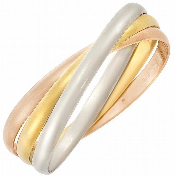 Tricolor Gold ''Rolling'' Bangle Bracelet, Cartier