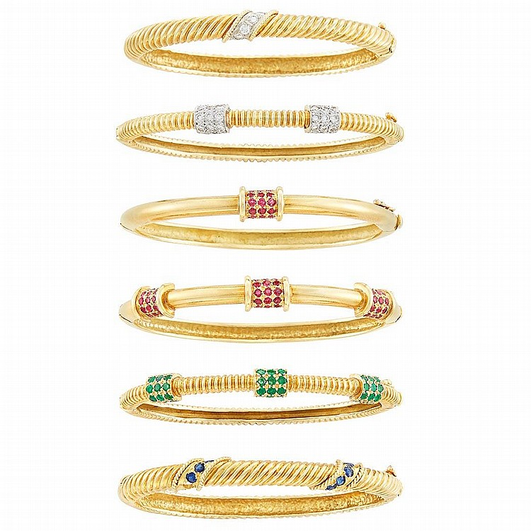Six Gold, Diamond and Gem-Set Bangle Bracelets