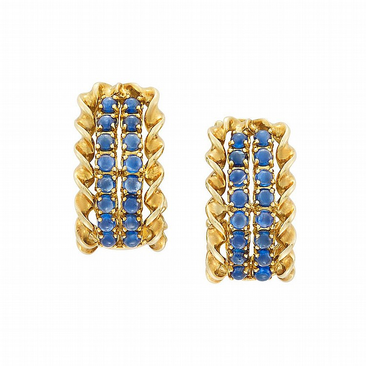 Pair of Gold and Cabochon Sapphire Hoop Earclips, Sabbadini