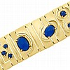 Wide Gold and Lapis Bracelet