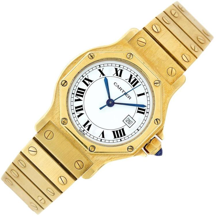 Gold ''Santos'' Wristwatch, Cartier