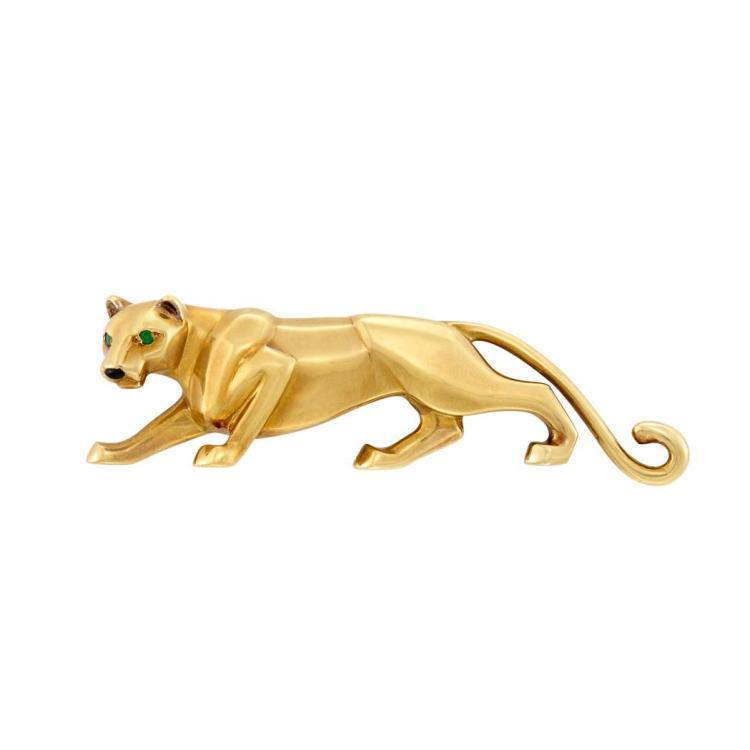 Gold, Emerald and Enamel ''Samantha'' Panther Clip-Brooch, Cartier, France