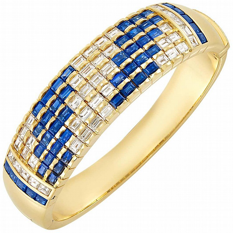 Gold, Diamond and Sapphire Bangle Bracelet