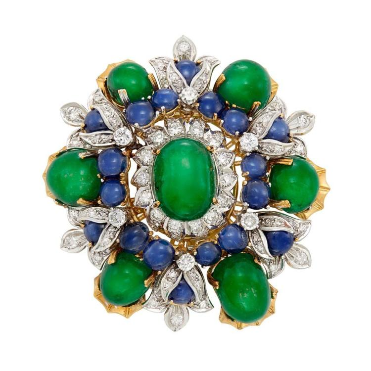 Gold, Platinum, Cabochon Emerald, Sapphire and Diamond Clip-Brooch, Henry Dunay