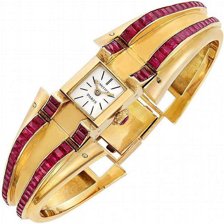 Gold and Synthetic Ruby Bangle-Watch, Cartier, Paris