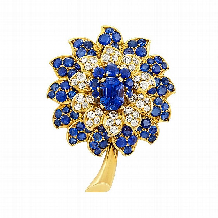 Gold, Diamond and Sapphire ''Chouquette'' Brooch, Rene Boivin