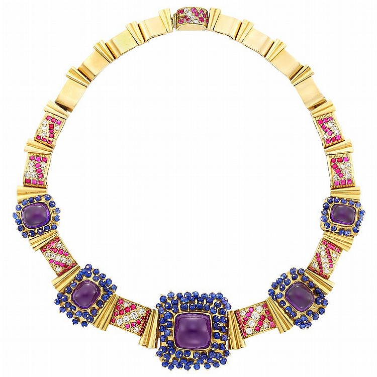 Gold, Cabochon Amethyst, Sapphire Bead, Ruby and Diamond Necklace