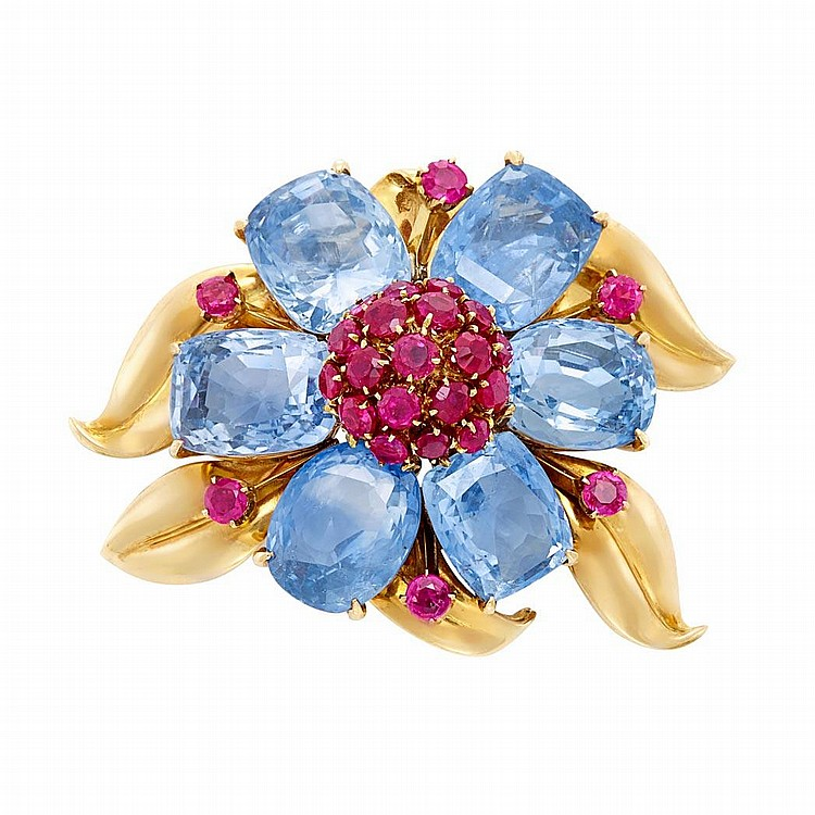 Gold, Sapphire and Ruby Flower Brooch